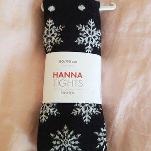 Hanna Andersson Black Tights Silver Snowflakes